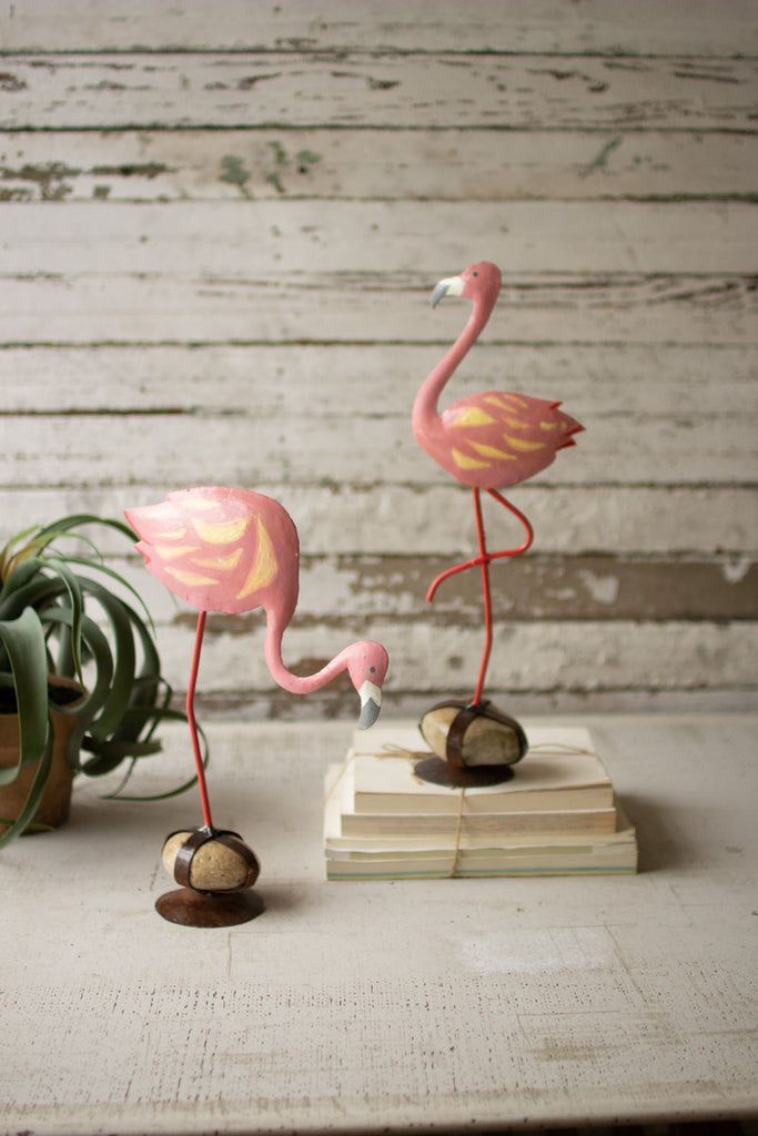 Set of Two Painted Metal Flamingos On Caged Rock Bases