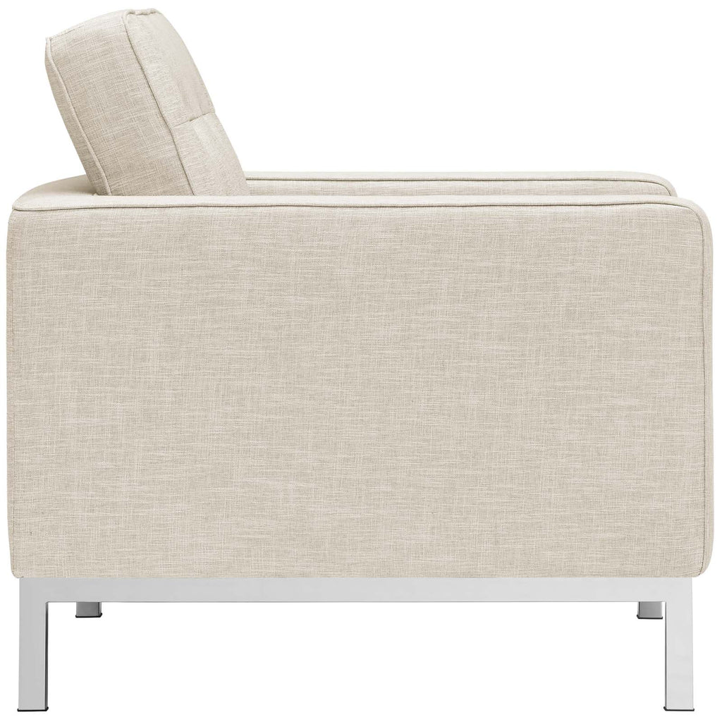 Loft Armchairs Upholstered Fabric Set of 2 - Beige