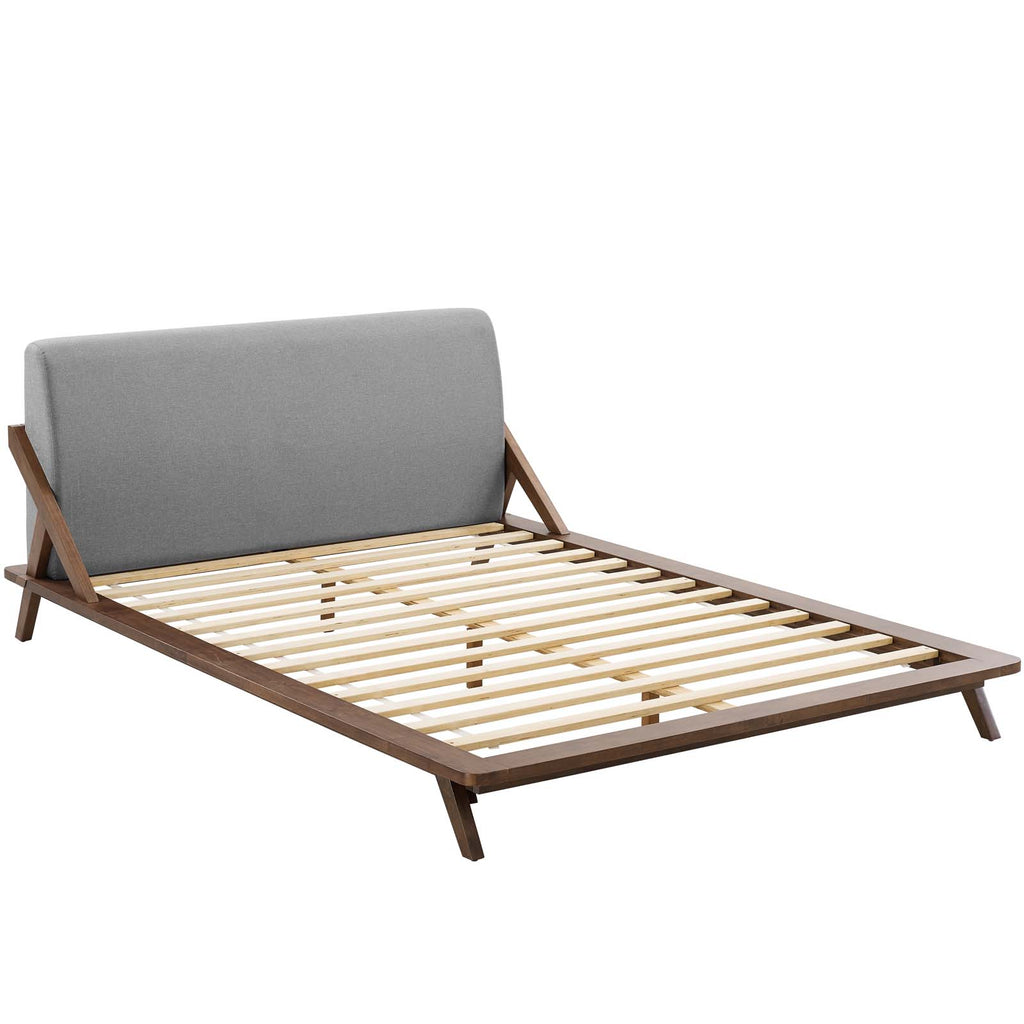 Luella Queen Upholstered Fabric Platform Bed - Walnut Light Gray