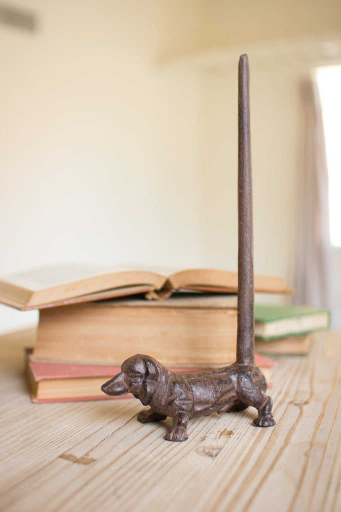 CAST IRON DACHSHUND PAPER TOWEL HOLDER-RUSTIC