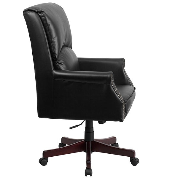 High Back Pillow Back Black LeatherSoft Executive Swivel Office Chair with Arms