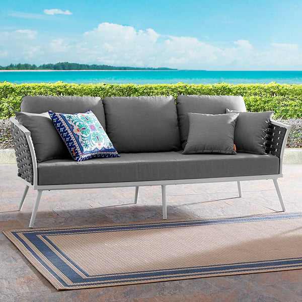 Stance Outdoor Patio Aluminum Sofa - White Gray