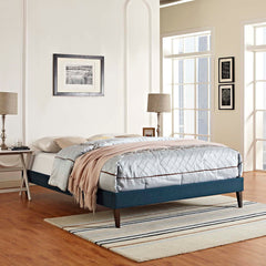 Tessie Queen Fabric Bed Frame with Squared Tapered Legs - Azure