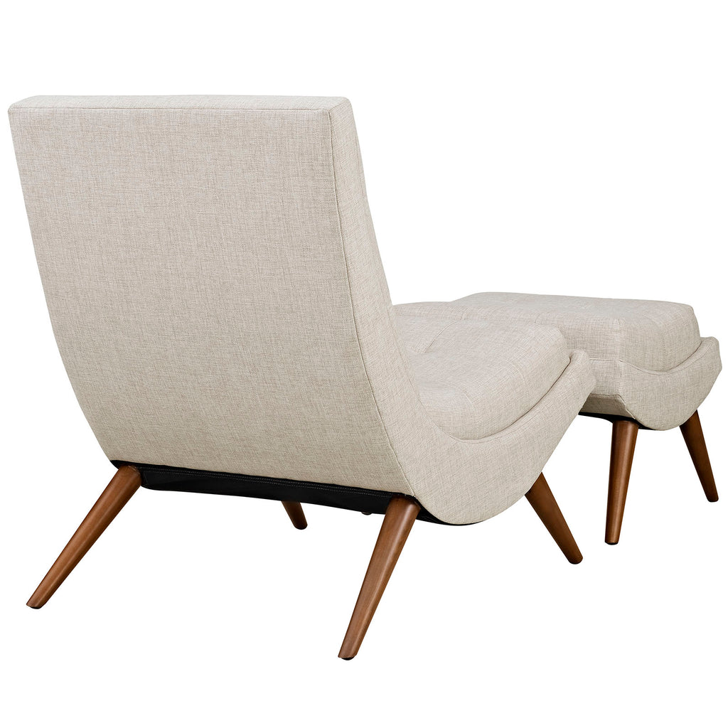 Ramp Upholstered Fabric Lounge Chair Set - Sand