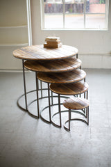 Set of Five Recycled Wood and Iron Round Display Tables
