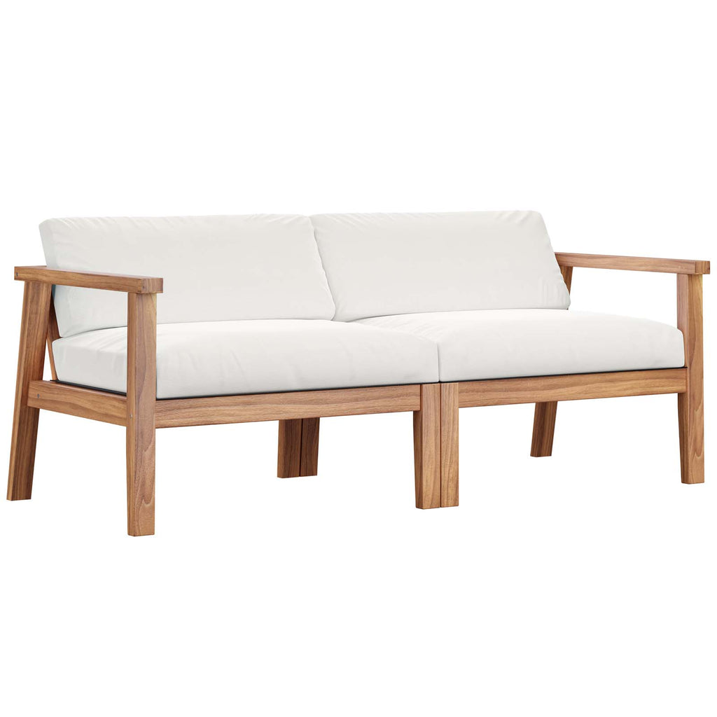 Bayport Outdoor Patio Teak Wood 2-Seater Loveseat - Natural White