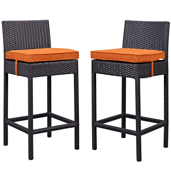 Lift Bar Stool Outdoor Patio Set of 2 - Espresso Orange