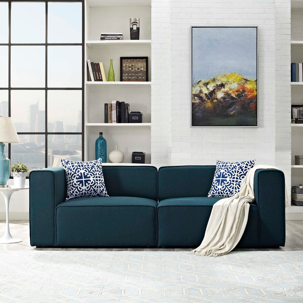 Mingle 2 Piece Upholstered Fabric Sectional Sofa Set - Blue