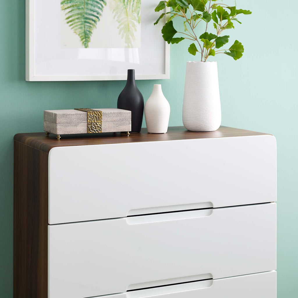 Origin Three-Drawer Chest or Stand - Walnut White