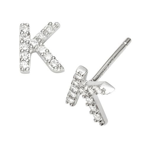 CZ Initial Earrings