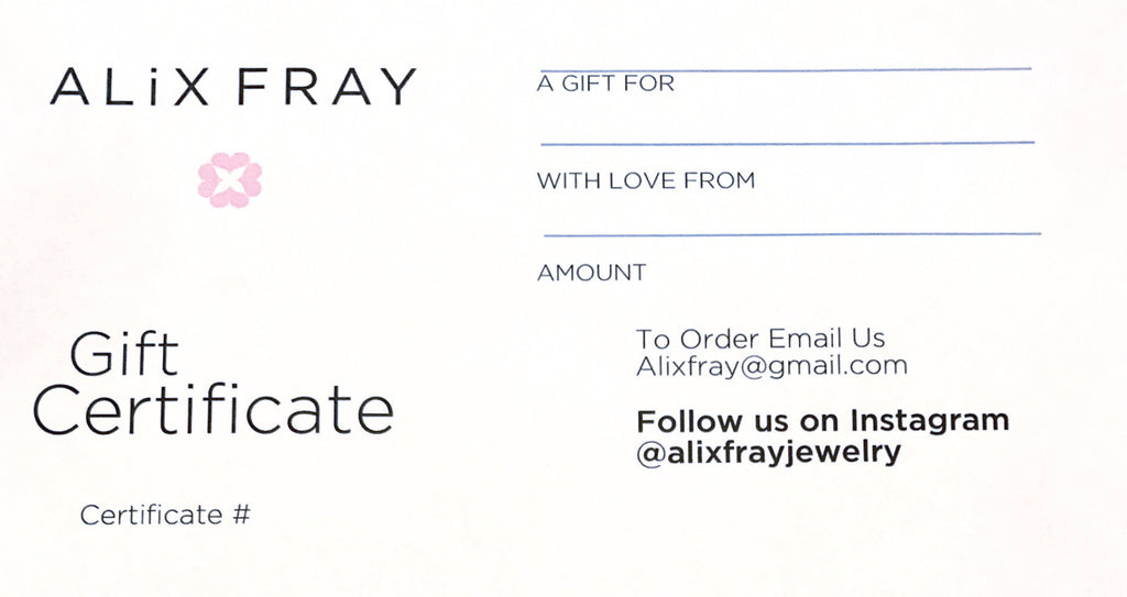 Alix Fray Gift Certificate