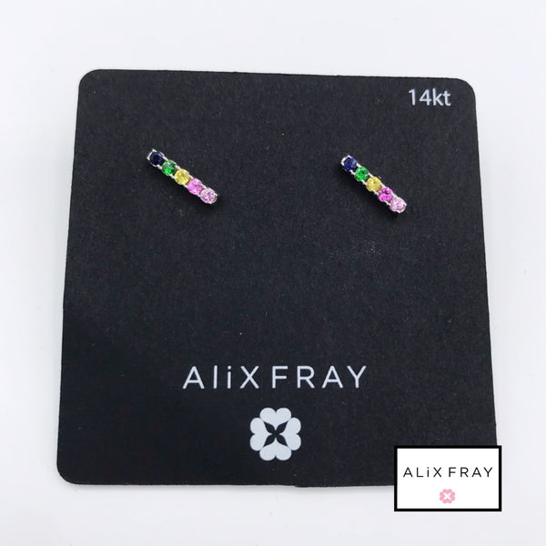 14kt Rainbow Bar Earrings