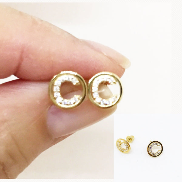 """Chloe"" 14Kt Circle Initial Earrings"