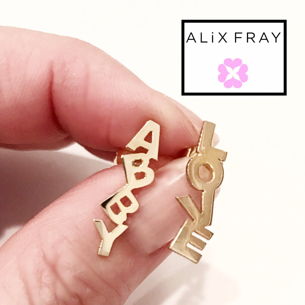 """Abby"" Stacked Name Earrings"