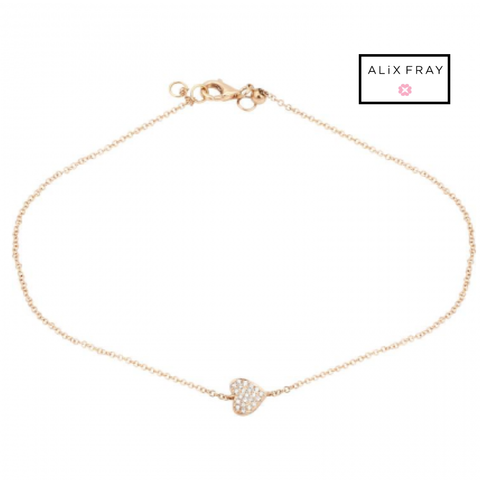 14kt Diamond Heart Anklet