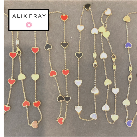14kt Color Heart Anklet