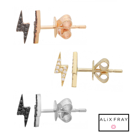 14kt Gold & Diamond Lightning Bolt Studs