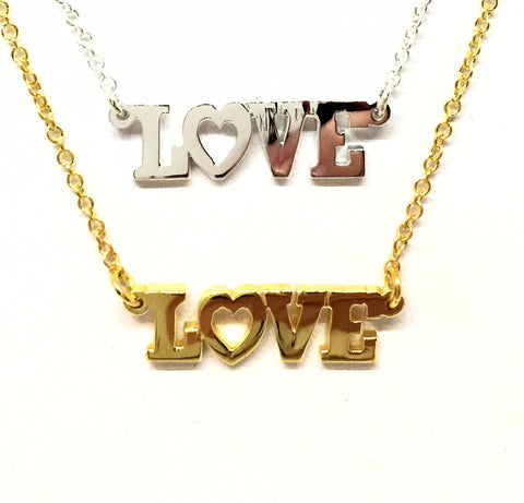 """Love"" Necklace with Hearts"