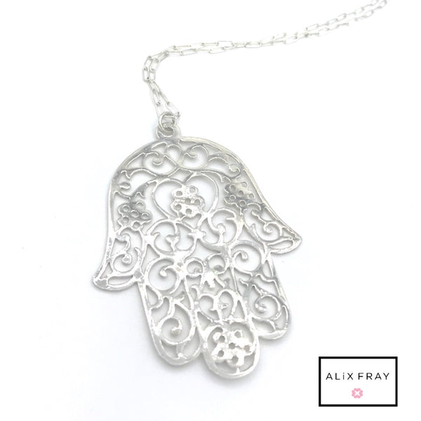 Scroll Hamsa Necklace