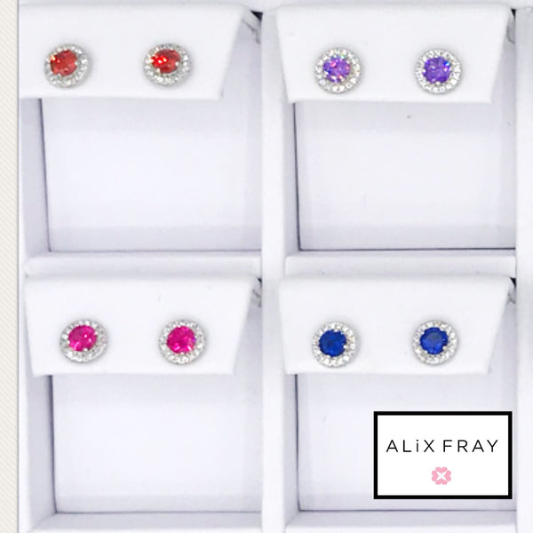 14Kt Halo Birthstone Earrings