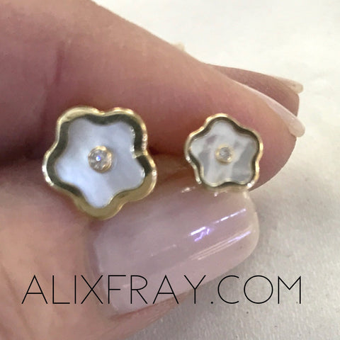 """Carly"" Clover  14kt Gold Earrings"