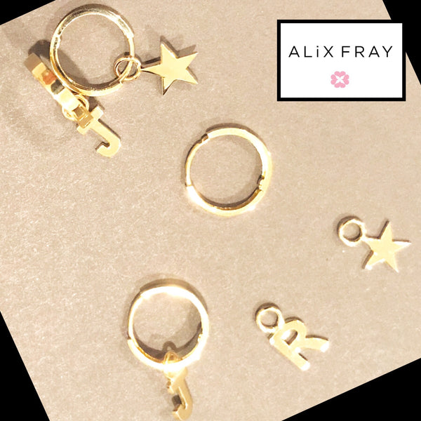 14kt Charm Mini Hoop Earrings