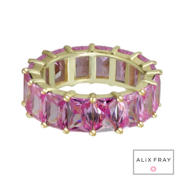 Colored Emerald Cut Eternity Band