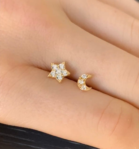 Star & Moon 14kt Gold Earrings