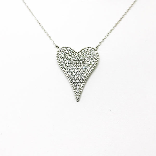 Pave Heart Necklaces