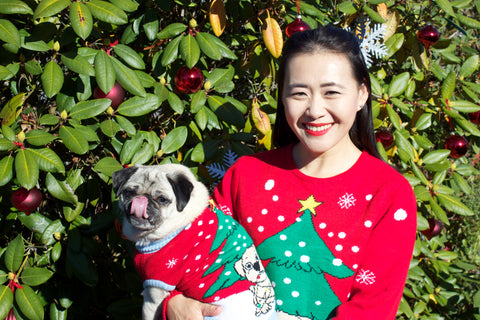 dog and adult matching ugly Christmas sweater Dog Tangled in Christmas Lights