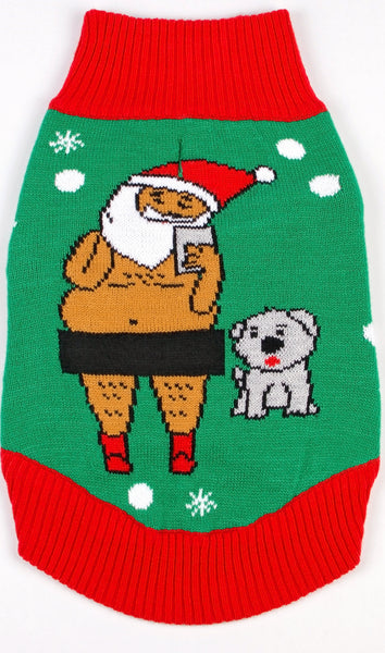 Dog Ugly Christmas Sweater Santa Selfie