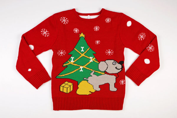 Adult Ugly Christmas Sweater Dog Peeing Under Christmas Tree