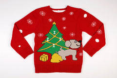 Adult Ugly Christmas Sweater - Dog Peeing Under Christmas Tree