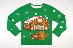 Adult Ugly Christmas Sweater - Gingerbread Home Invasion