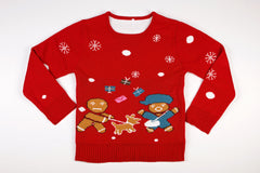 Adult Ugly Christmas Sweater - Gingerbread Dog Attack