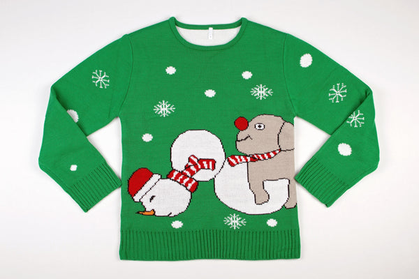 Adult Ugly Christmas Sweater Dog Humping Snowman