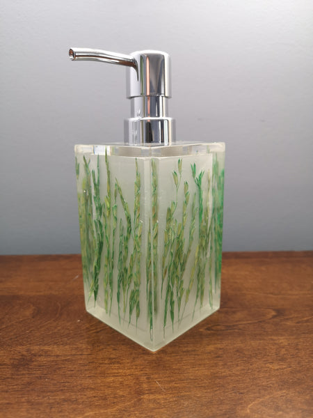 Green rice stalks soap dispenser