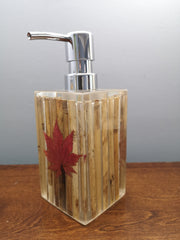 Bamboo with maple leaf soap dispenser