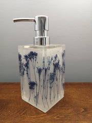 Purple field flowers soap dispenser