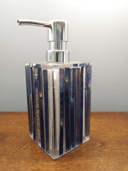 Blue bamboo core soap dispenser