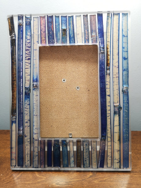 Blue bamboo core picture frame