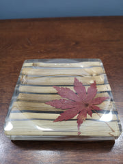 Bamboo with maple leaf soap dish