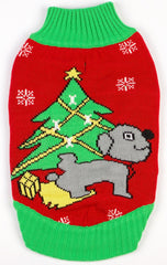 Dog Ugly Christmas Sweater - Dog Peeing Under Christmas Tree