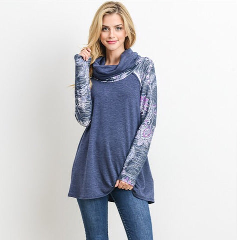 Solid Sweatshirt With Floral Sleeves
