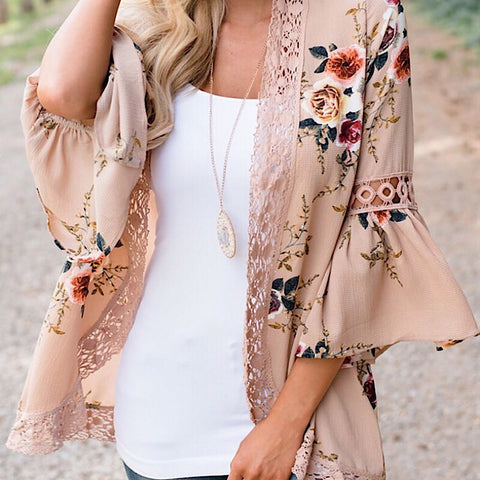 Bell Sleeve Floral Kimono