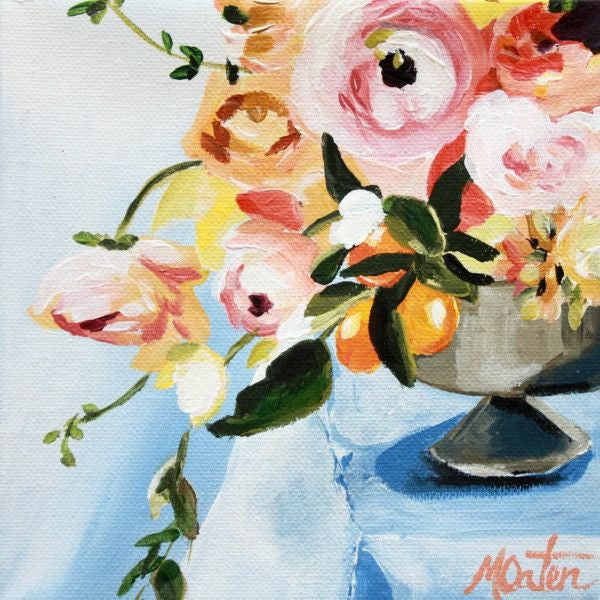 Blush & Blue in Vase - Fine Art Print - Prophetic Christian Fine Art by Mindi Oaten Art