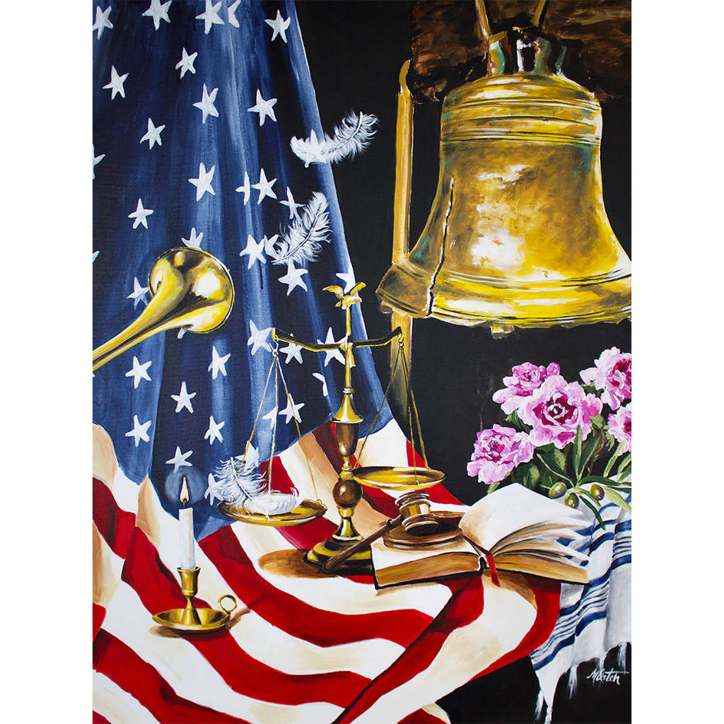 """Liberty & Justice for All"" 40 x 30 inches acrylic painting on canvas"