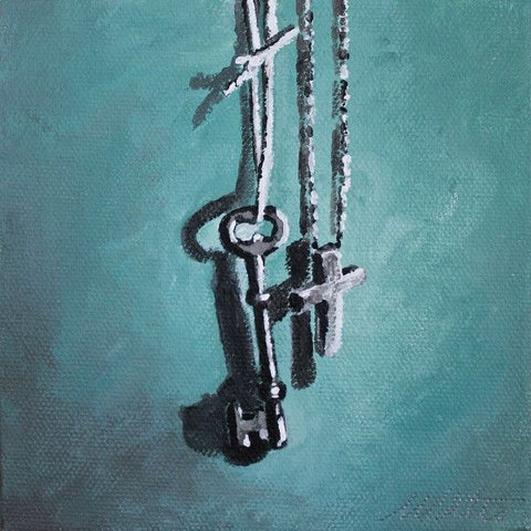 Key and Cross | Day 23 - Fine Art Print - Prophetic Christian Fine Art by Mindi Oaten Art