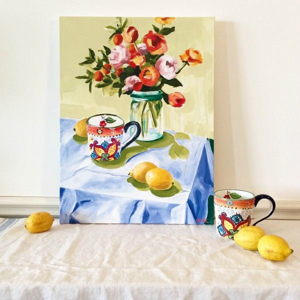 """Cup & Lemons"" 18 x 24 inches acrylic painting on canvas - Prophetic Christian Fine Art by Mindi Oaten Art"