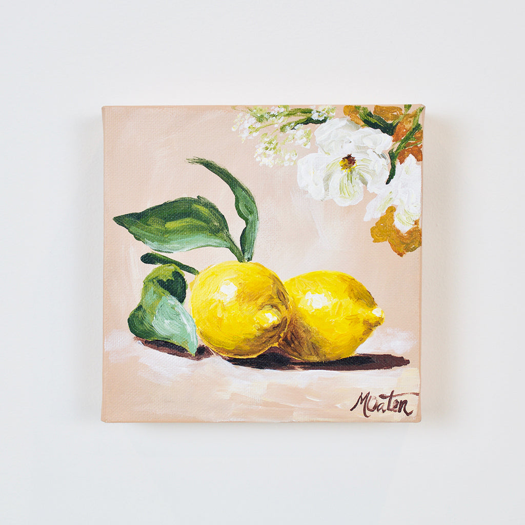 """Lemon Blooms"" 6 x 6 inches acrylic painting on canvas"